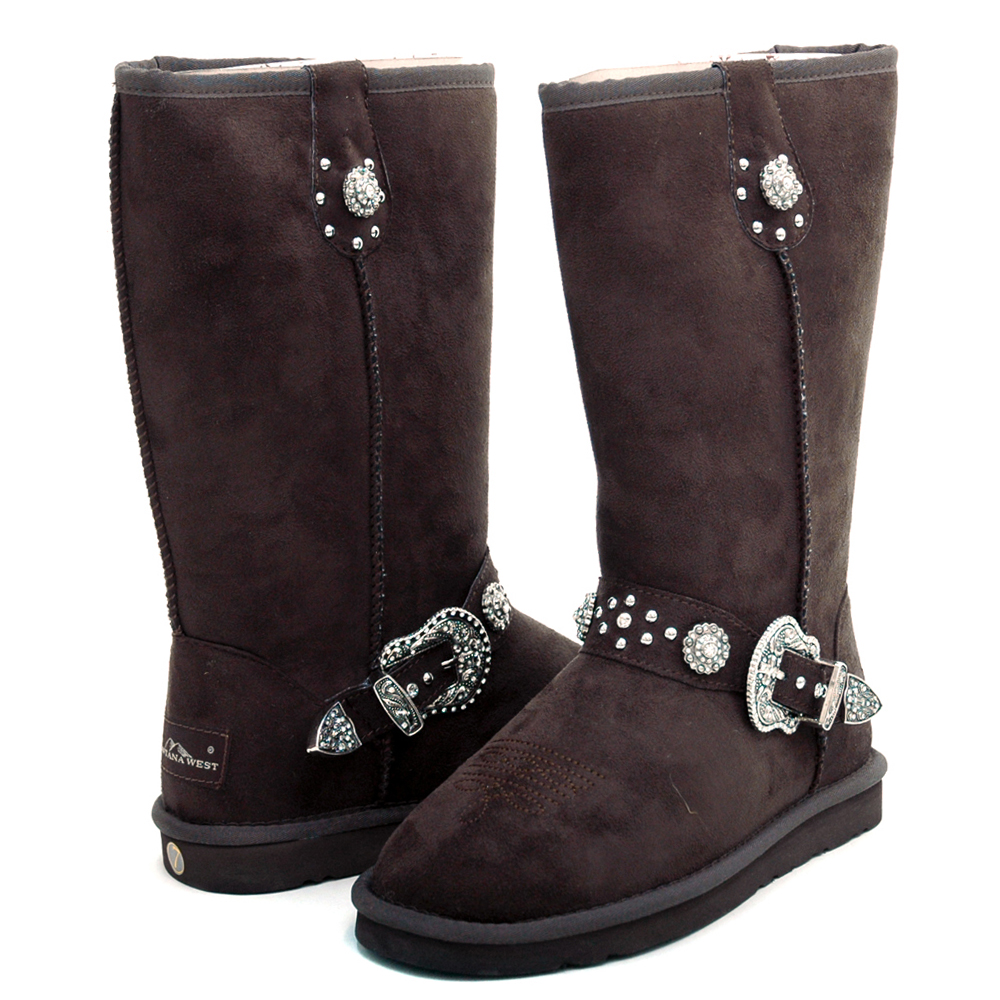 Montana West Women's Fashion Belted Winter Boots with Silver Star Embellishment-Coffee