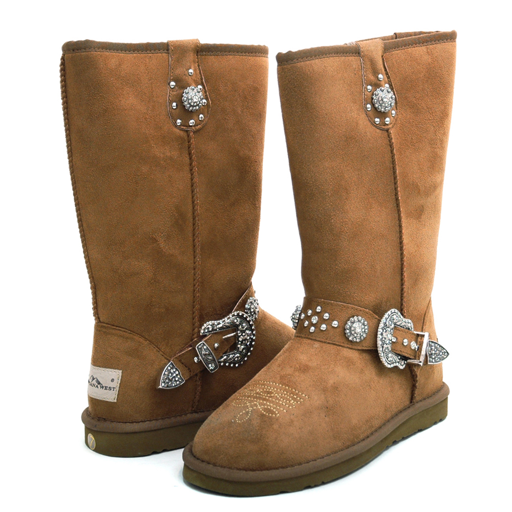 Montana West Women's Winter Belted Winter Boots with Silver Star Embellishment-Tan
