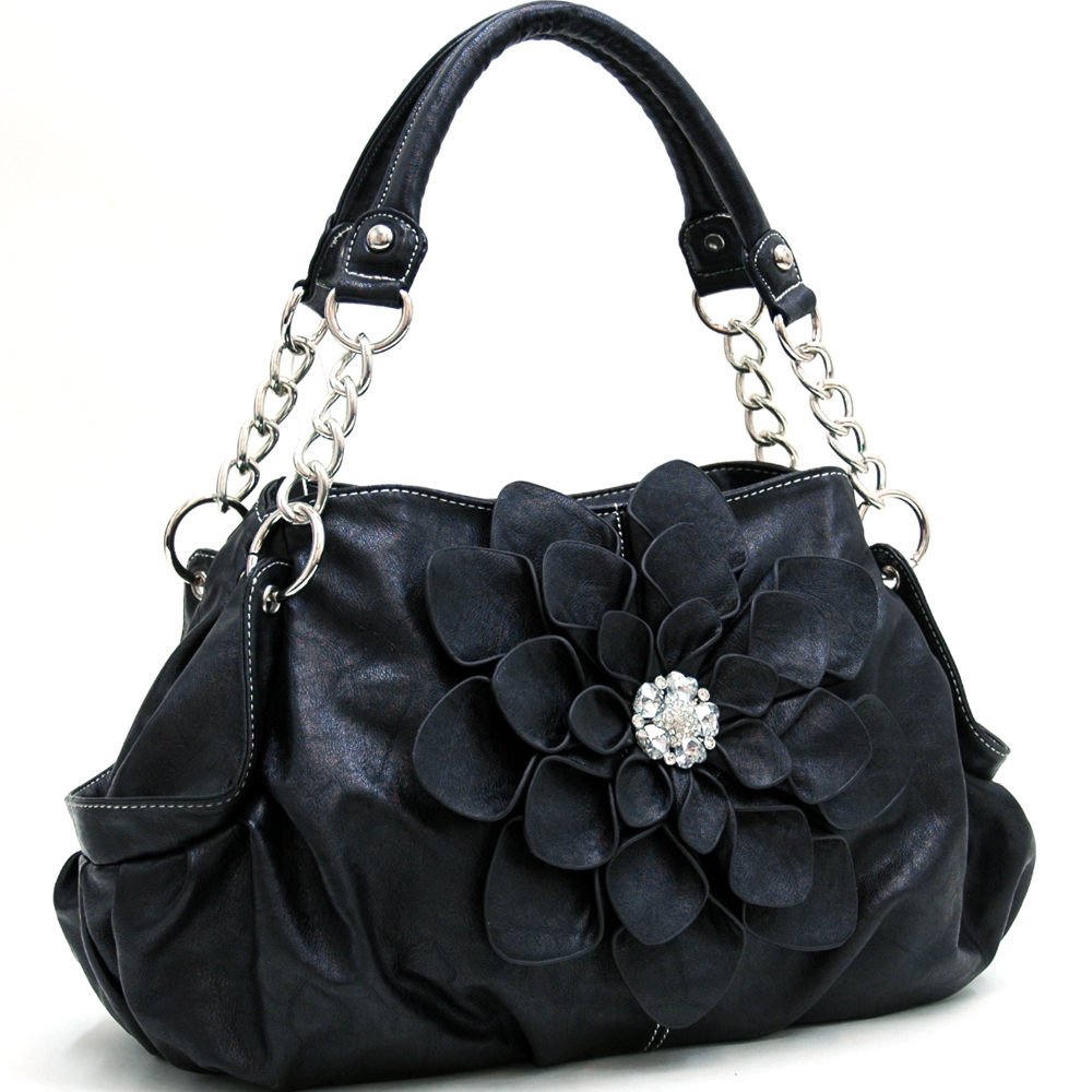 Fashion Flower Patch Shoulder Bag w/ Rhinestone Accent Black