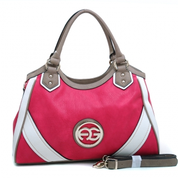 Anais Gvani ® Women's Multicolored Shoulder Bag with Bonus Shoulder Strap & Gold-tone Logo-Pink/Taupe/White