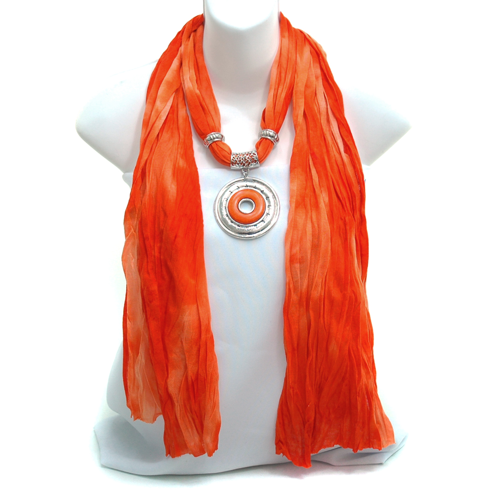 Necklace Style Tie-dye Scarf with Round Silver & Colored Stone Charm - Orange