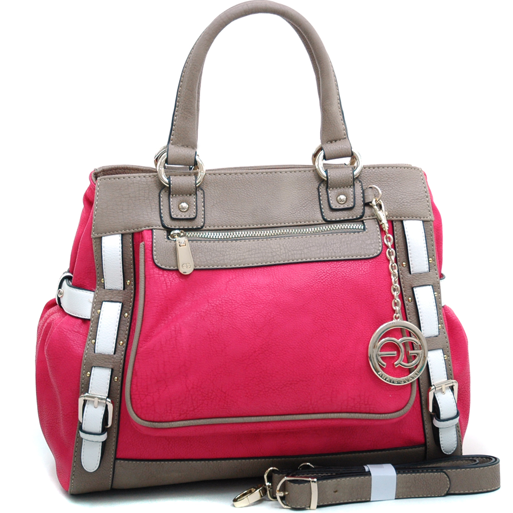 Anais Gvani ® Women's Multicolored Logo Print Satchel with Belted Accent & Logo Charm-Pink/Taupe/White