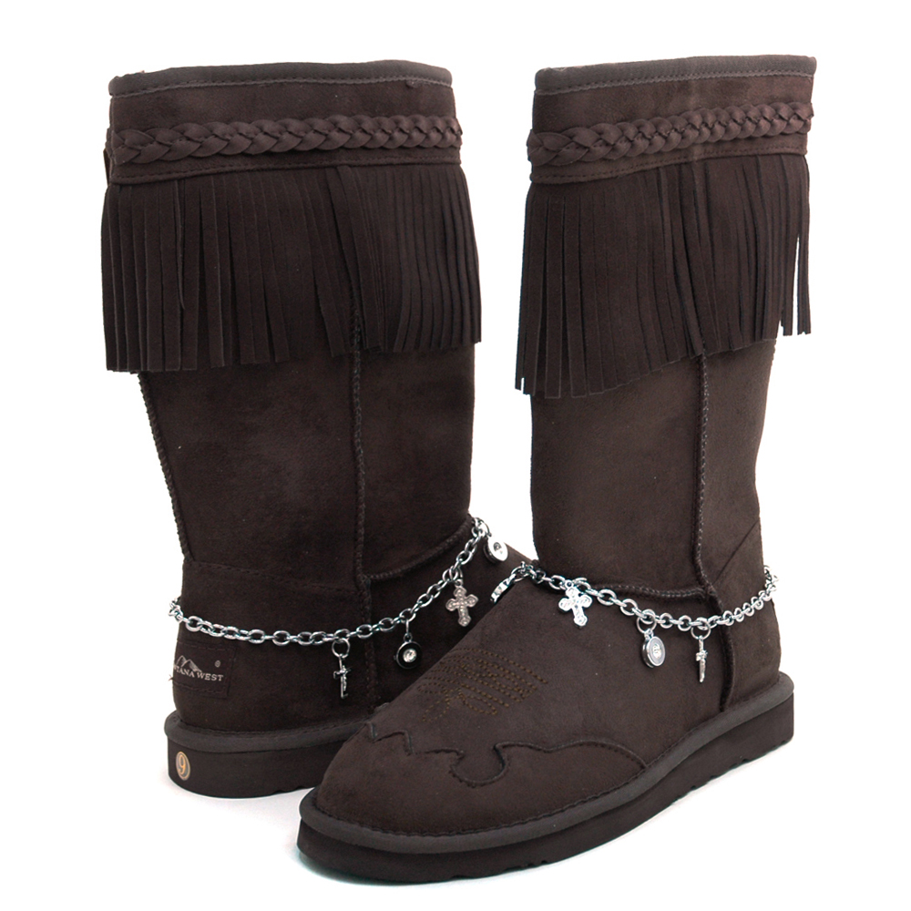 Montana West Women's Fashion Fringe Winter Boots with Braided Trim & Anklet Decor-Coffee