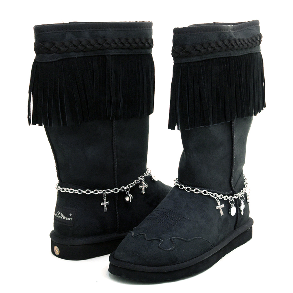 Montana West Women's Fashion Fringe Winter Boots with Braided Trim & Anklet Decor-Black