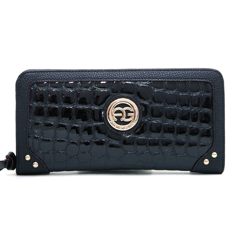 Anais Gvani® Battery Park Leatherette Trim Croco Zip Around Wallet