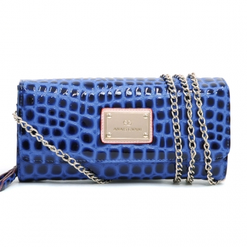 Anais Gvani ® Croco Chic Clutch Style Wallet with Bonus Chain Strap-Blue