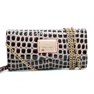 Anais Gvani ® Croco Chic Clutch Style Wallet with Bonus Chain Strap-Coffee