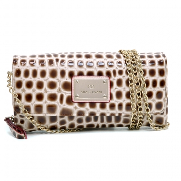 Anais Gvani ® Croco Chic Clutch Style Wallet with Bonus Chain Strap-Beige/Brown
