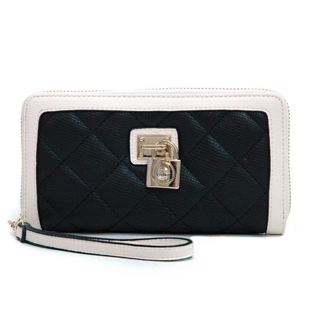 Anais Gvani Women's Classic Quilted Two-tone Zip-around Wallet with Detachable Wristlet Strap Black/White