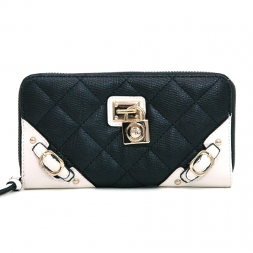 Anais Gvani ® Women's Classic Quilted Two-Tone Zip-Around Wallet with Belted Accents - Black/White