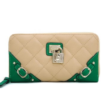 Anais Gvani ® Women's Classic Quilted Two-Tone Zip-Around Wallet with Belted Accents - Tan/Green