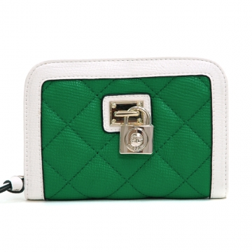 Anais Gvani ® Women's Petite Classic Quilted Two-Tone Zip-Around Wallet - Green/White
