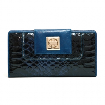 Anais Gvani ® Women's Genuine Tri-fold Checkbook Wallet with Snakeskin Texture & Twist Lock Closure - Blue