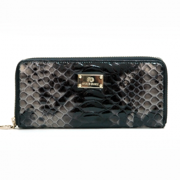 Anais Gvani ® Women's Smooth Genuine Leather Zip-Around Wallet with Snakeskin Texture - Black
