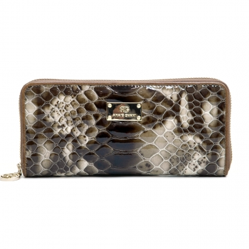 Anais Gvani ® Women's Smooth Genuine Leather Zip-Around Wallet with Snakeskin Texture - Coffee