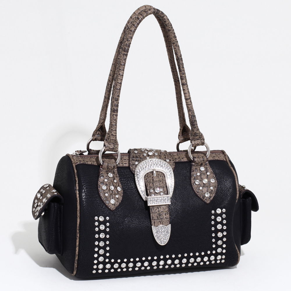 Women's Western Rhinestone Studded Shoulder Bag with Croco Trim & Buckle Accent-Black/Taupe