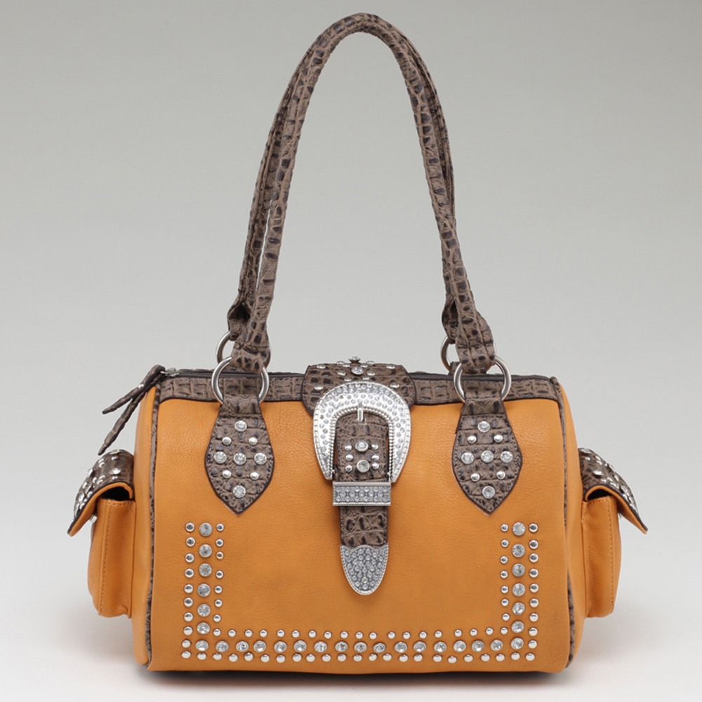 Women's Western Rhinestone Studded Shoulder Bag with Croco Trim & Buckle Accent-Mustard/Taupe