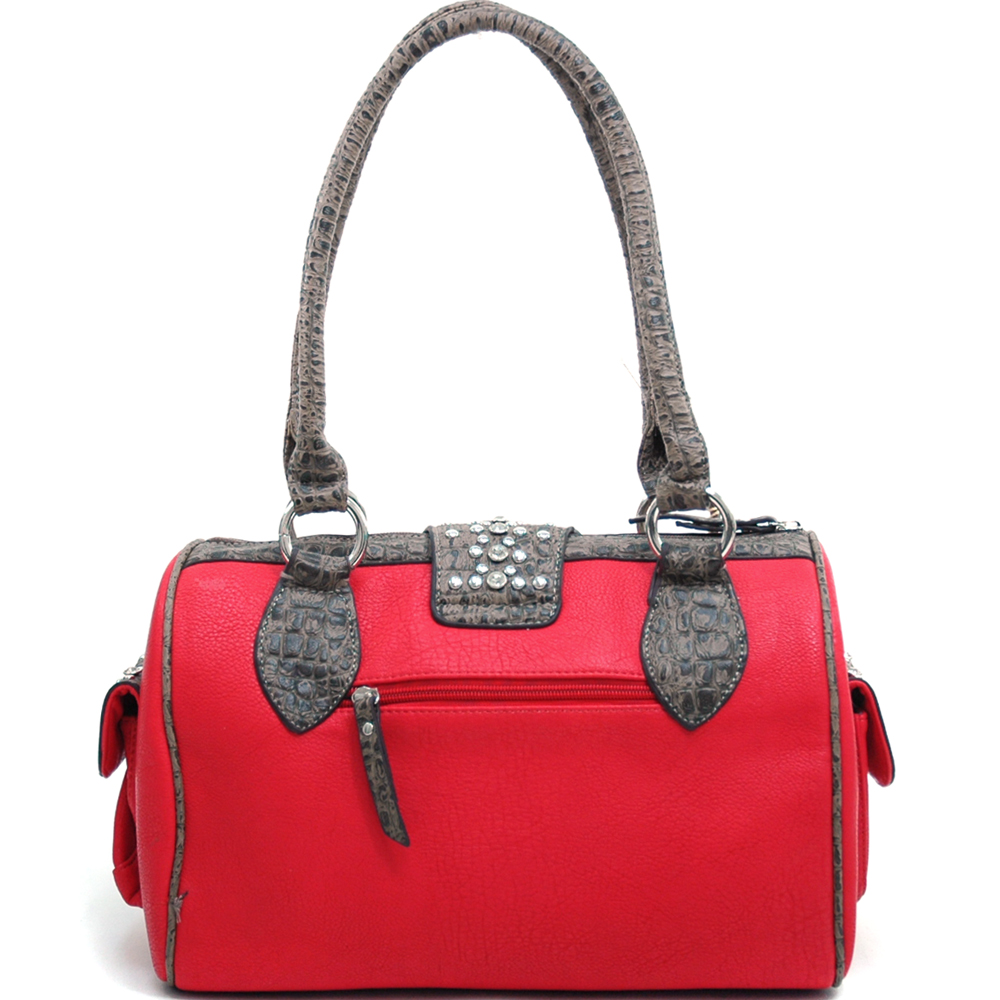 Women's Western Rhinestone Studded Shoulder Bag with Croco Trim & Buckle Accent-Red/Taupe