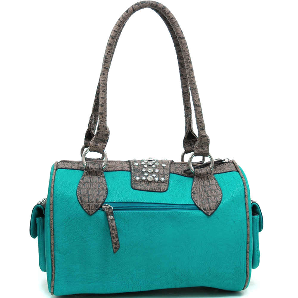 Women's Western Rhinestone Studded Shoulder Bag with Croco Trim & Buckle Accent-Turquoise/Taupe