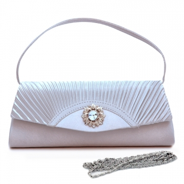 Dasein Pleated Fap Over Clutch / Purse with Rhinestone Flower Accent-Silver