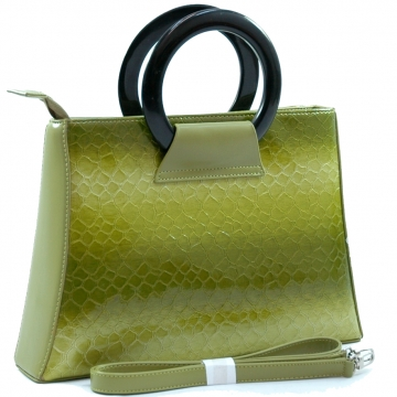 Dasein Women's Snakeskin Embossed Satchel with Black Carrying Handle-Green