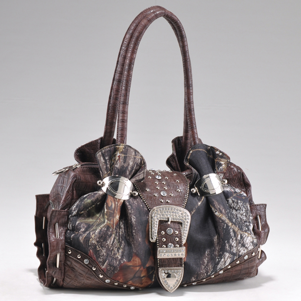 Mossy Oak® Arctic Camo Rhinestone Buckle Cuffed Shoulder Bag