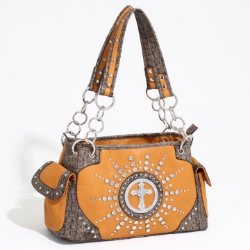 Women's Western Rhinestone Studded Shoulder Bag with Croco Trim & Cross Accent-Mustard/Taupe
