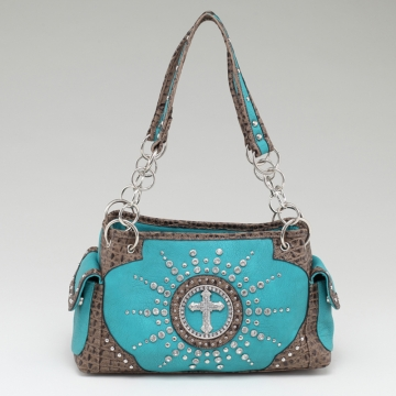 Women's Western Rhinestone Studded Shoulder Bag with Croco Trim & Cross Accent-Turquoise/Taupe