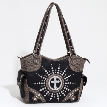 Women's Western Rhinestone Studded Shoulder Bag with Croco Trim & Cross Accent-Black/Taupe
