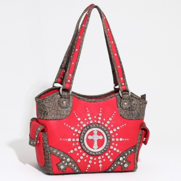 Women's Western Rhinestone Studded Shoulder Bag with Croco Trim & Cross Accent-Red/Taupe