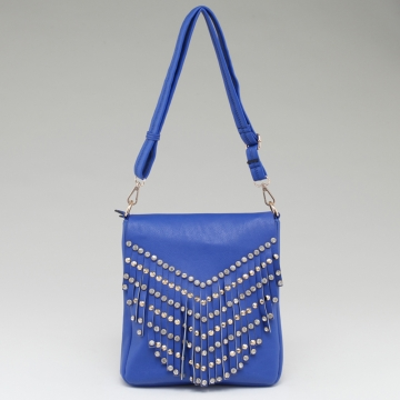 Women's Western Fringed Messenger Bag with Rhinestone & Stud Accents-Blue