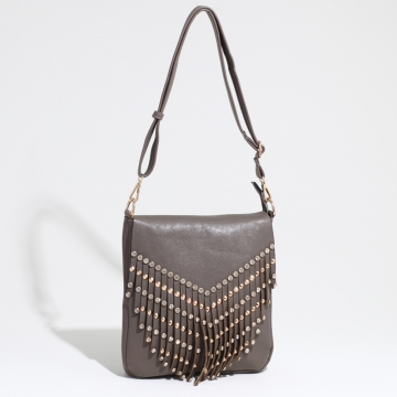 Women's Western Fringed Messenger Bag with Rhinestone & Stud Accents-Taupe