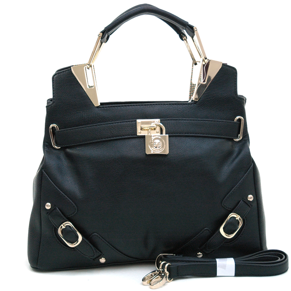 Anais Gvani ® Women's Belted Satchel with Logo Lock & Gold Accents-Black