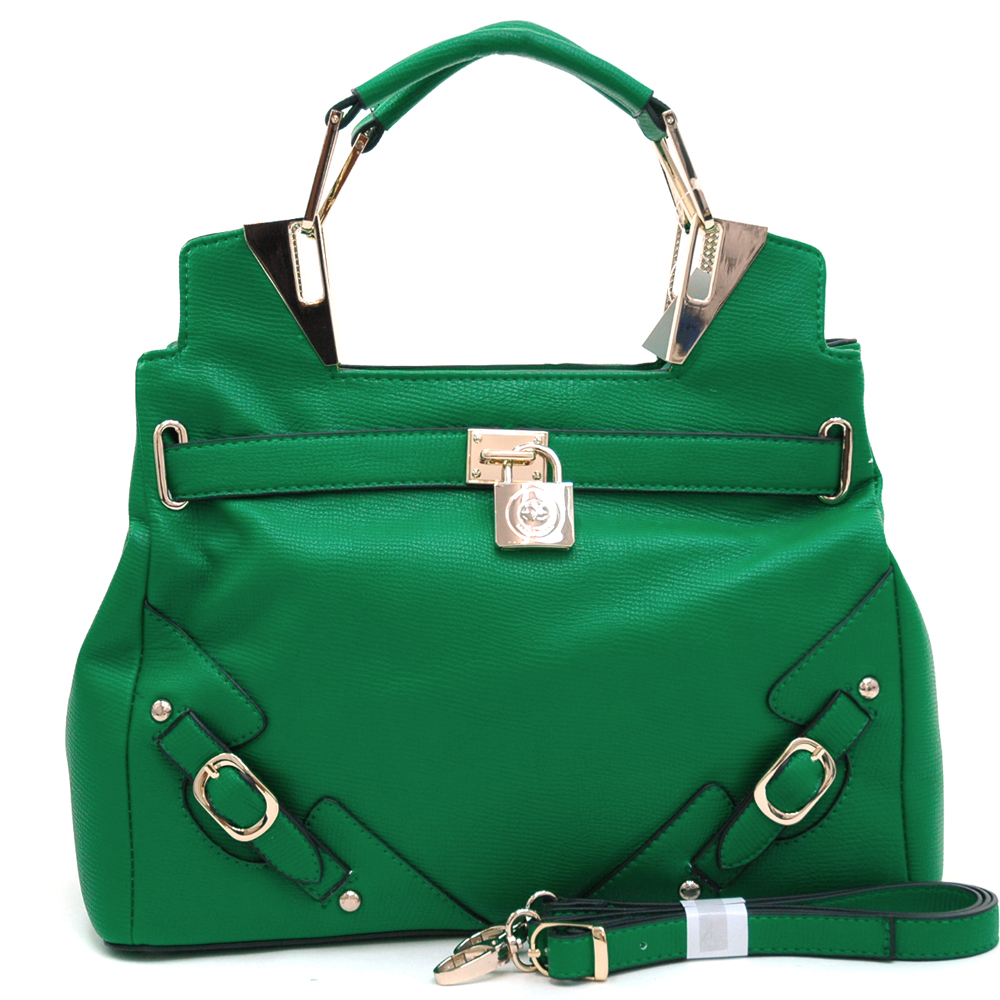 Anais Gvani ® Women's Belted Satchel with Logo Lock & Gold Accents-Green