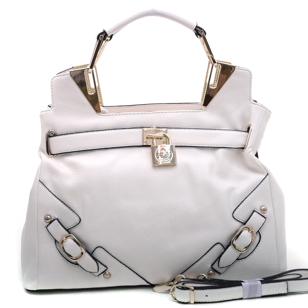 Anais Gvani Women's Belted Satchel with Logo Lock & Gold Accents-Cream