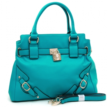 Anais Gvani ® Women's Classic Belted Satchel with Lock Accent-Turquoise