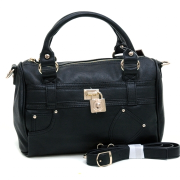 Anais Gvani ® Women's Petite Belted Satchel with Front Pocket Decor & Bonus Strap-Black