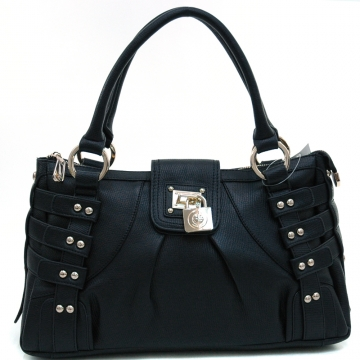 Anais Gvani ® Women's Strapped & Studded Shoulder Bag with Lock Accent-Black