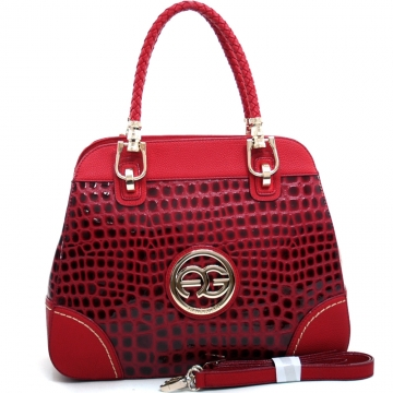 Anais Gvani ® Women's Sophisticated Croco Embossed Tote with Braided Straps-Red