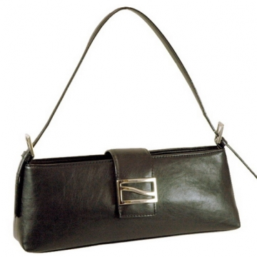 Vani Designer Inspired Fine Textured Classic Shoulder Bag with Front Metal Buckle-Black