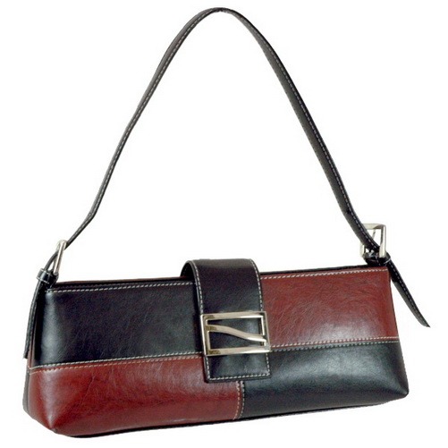 Vani Designer Inspired Fine Textured Classic Shoulder Bag with Front Metal Buckle-Black/Red/Red/Black