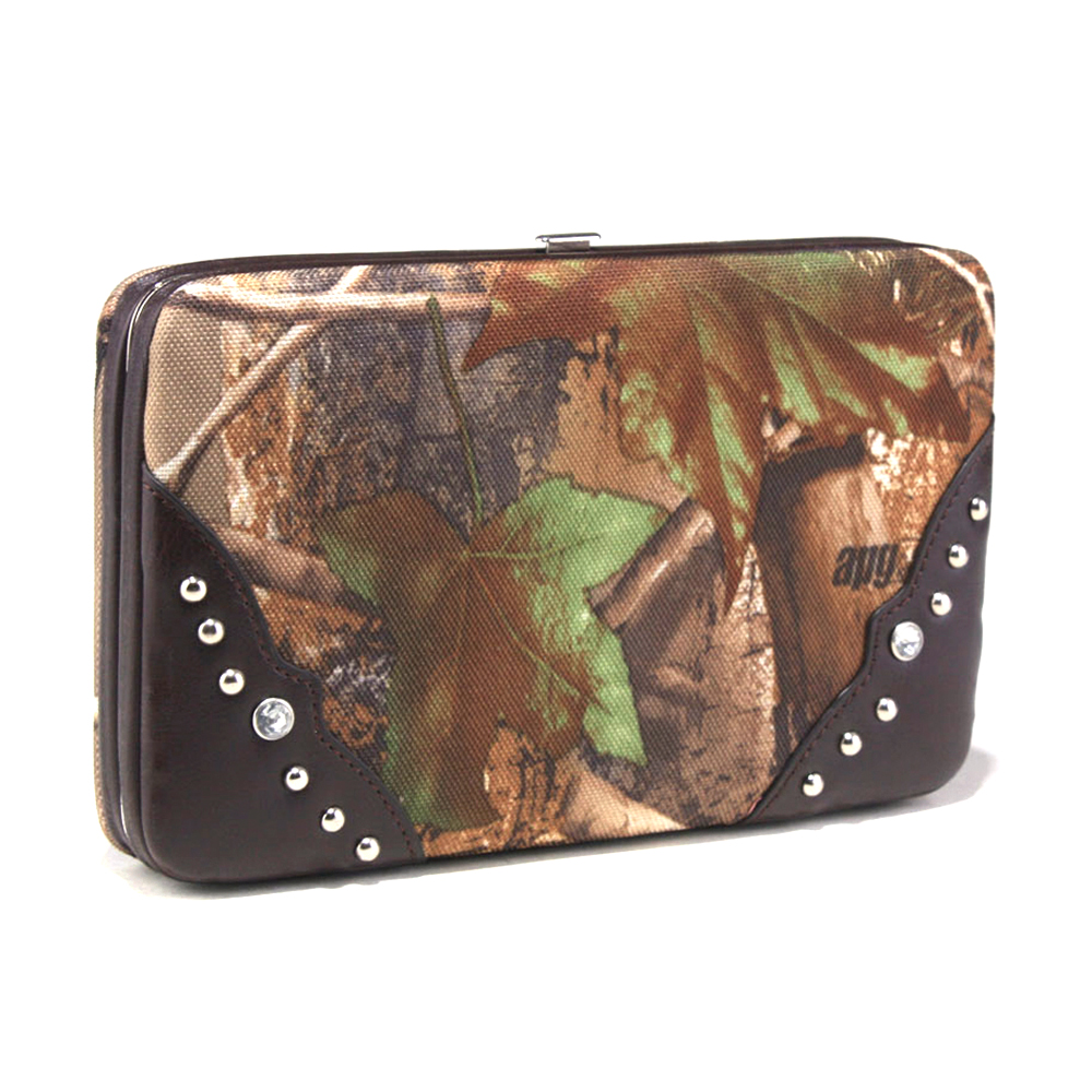 Realtree® camouflage frame checkbook wallet with studs accent - coffee