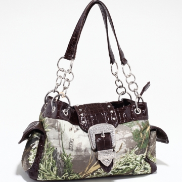 Real Tree ® camouflage buckle accent shoulder bag handbag - Coffee