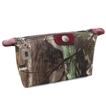 Realtree® Fashion Camouflage Fabric Cosmetic Bag with Faux Leather Trim-Camouflage/Red Trim