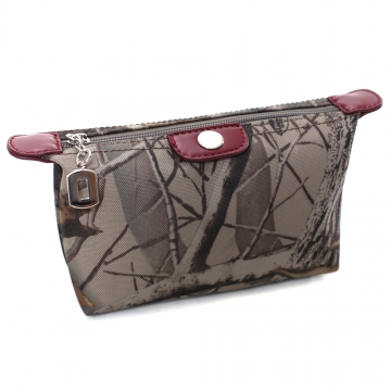 Realtree® Trendy Camouflage Fabric Cosmetic Bag with Faux Leather Trim-Camouflage/Red Trim