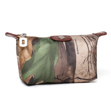 Realtree® Camouflage Accented Fabric Cosmetic Bag with Faux Leather Trim-Camouflage/Brown Trim