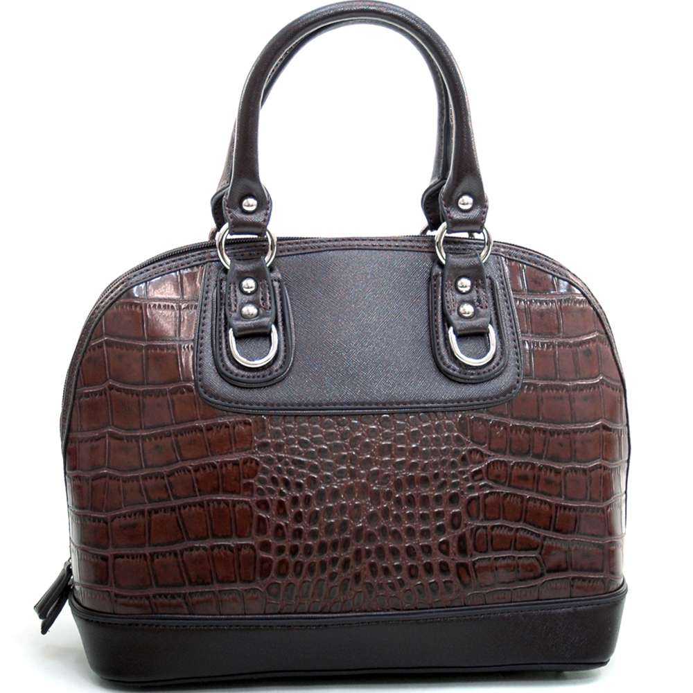 Dasein Women's Matte Croco Zip-Around Satchel with Stud Accents-Coffee