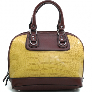 Dasein Women's Matte Croco Zip-Around Satchel with Stud Accents-Yellow/Coffee
