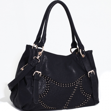 Emperia Two-Toned Fashion Shoulder Bag with Rounded Stud Accents-Black