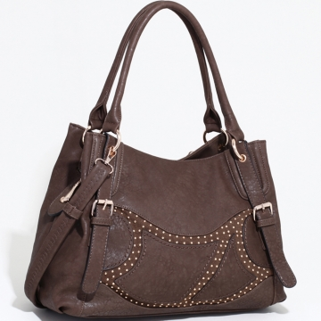 Emperia Two-Toned Fashion Shoulder Bag with Rounded Stud Accents-Coffee